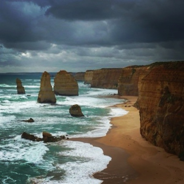 Moody skies at The 12 Apostles on The Great Ocean Road, Victoria, Australia
